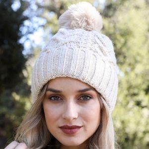 New fleece lined knit pompom beanie